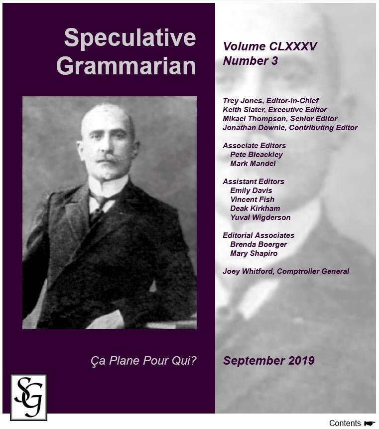 "Cover der Ausgabe 9/2019 der ""Speculative Grammarian"" (http://specgram.com/CLXXXV.3/)"