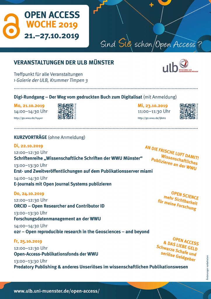 Programm der Open-Access-Woche 2019 der ULB Münster