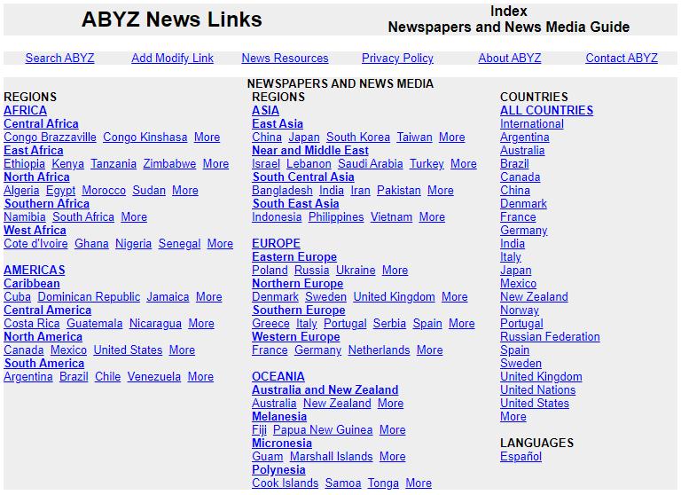 "Screenshot der Startseite der ""ABYZ News Links"" (http://www.abyznewslinks.com/)"