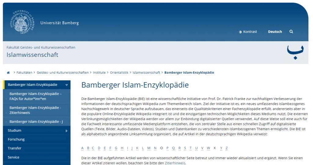 Screenshot der Bamberger Islam-Enzyklopädie (https://www.uni-bamberg.de/islamwissenschaft/bie/)
