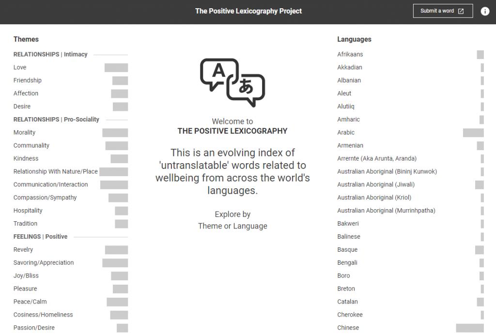 """Screenshot der Seite """"The positive lexicography"""" (https://hifisamurai.github.io/lexicography/)"""