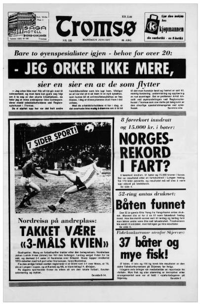 "Titelblatt der Zeitung ""Tromsø"" vom 6.6.1977 (https://www.nb.no/items/c321404568aba1eaea9342b6cb4aafcb)"