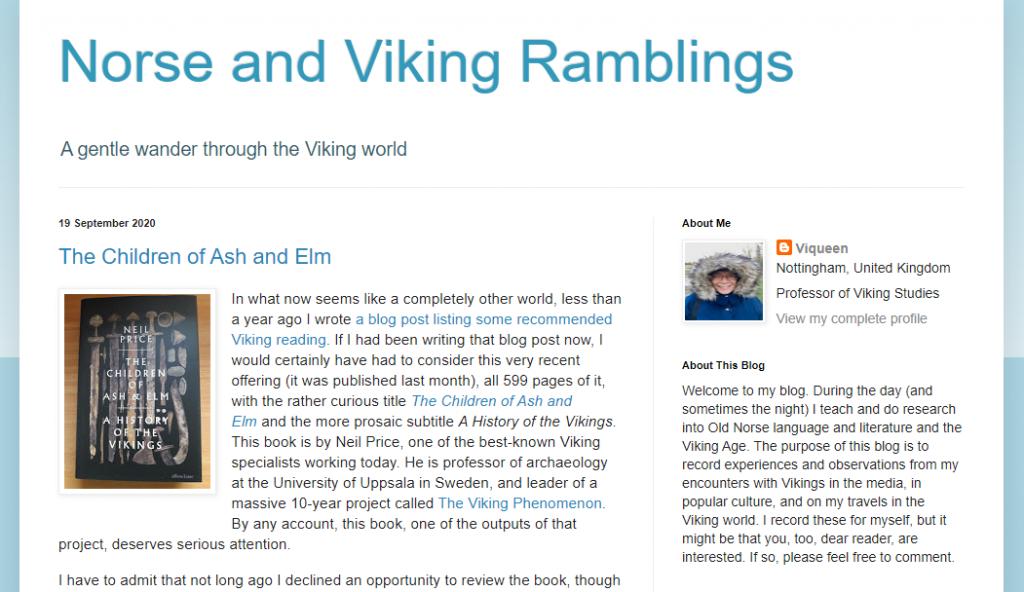 "Screenshot des Blogs ""Norse and Viking Ramblings"""