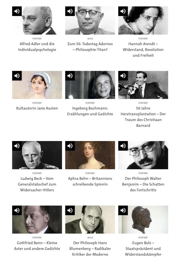 """Screenshot der Podcast-Sammlung """"Biographien & Portraits"""" des SWR (https://www.swr.de/swr2/wissen/biografien-swr2-wissen-102.html)"""