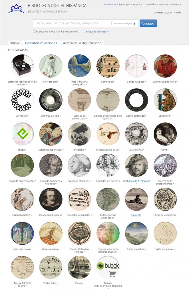 Screenshot der Sammlungsübersicht der Biblioteca digital hispánica (http://bdh.bne.es/)