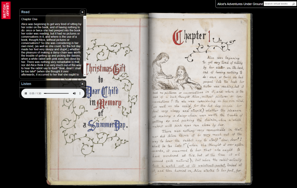 """Screenhot von """"Alice in Wonderland"""" bei den """"Virtual Books"""" der British Library (http://www.bl.uk/turning-the-pages/?id=86825520-a671-11db-a264-0050c2490048&type=book)"""