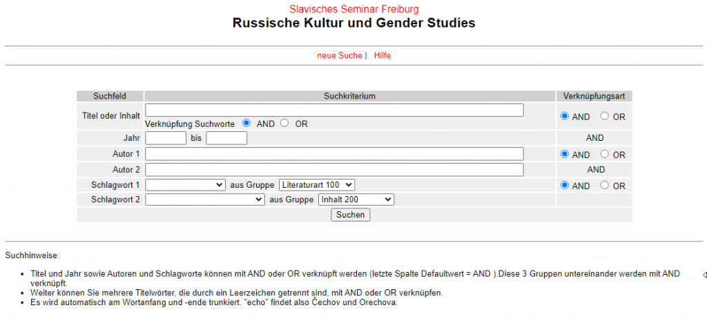 "Screenshot der Datenbank ""Russische Kultur und Gender Studies"" (http://www2.slavistik.uni-freiburg.de/slavlit/de/)"