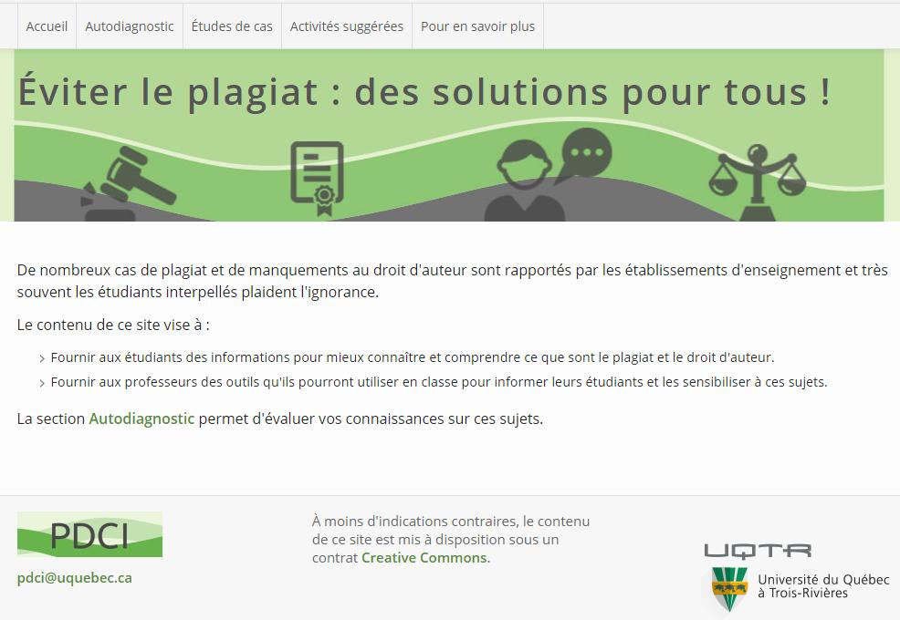 """Screenshot der Seite """"Èviter le plagiat : des solutions pour tous !"""" der Uni Québec (https://oraprdnt.uqtr.uquebec.ca/pls/public/gscw031?owa_no_site=4481&owa_no_fiche=1&owa_bottin=)"""