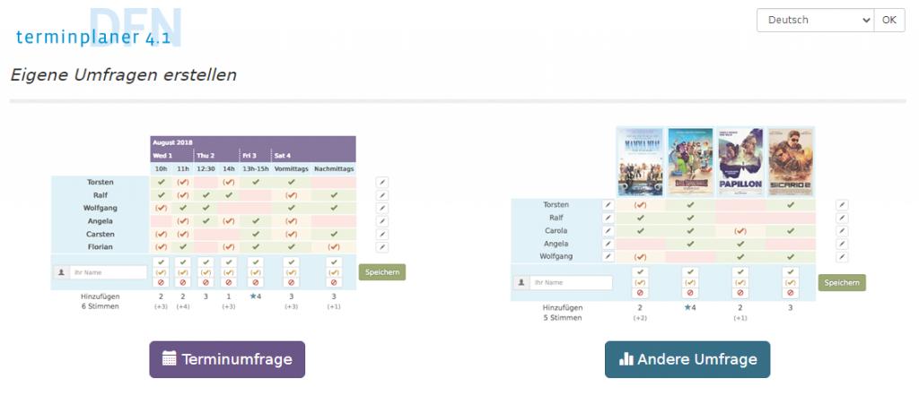 Screenshot der Startseite des DFN-Terminplaners (https://terminplaner4.dfn.de) (Stand 5.11.2020)