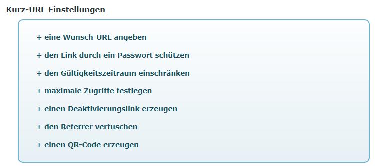 Einstellungsmöglichkeiten des Link-Kürzungsdienstes t1p.de