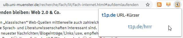 Screenshot des Browser-Plugins des Link-Kürzungsdienstes t1p.de