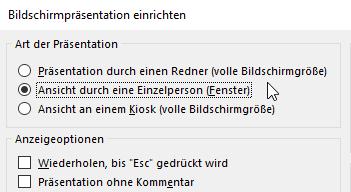 """Screenshot aus PowerPoint: Menü """"Bildschirmpräsentation einrichten"""""""