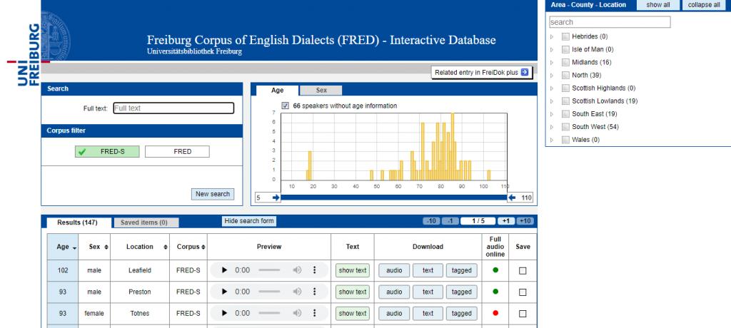 """Screenshot der Datenbank zum englischen Sprachkorpus """"FRED"""" (https://fred.ub.uni-freiburg.de/)"""