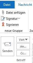 Screenshot eines bearbeiteten Menübandes in Outlook