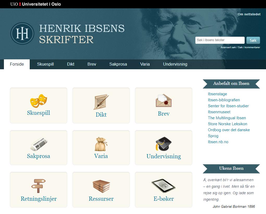 """Screenshot der Startseite von """"Henrik Ibsens skrifter"""" (https://www.ibsen.uio.no/) (Stand 18.5.2021)"""