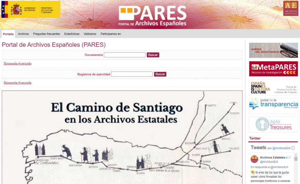 Screenshot der Startseite von PARES (http://pares.culturaydeporte.gob.es/) (Stand 20.5.2021)